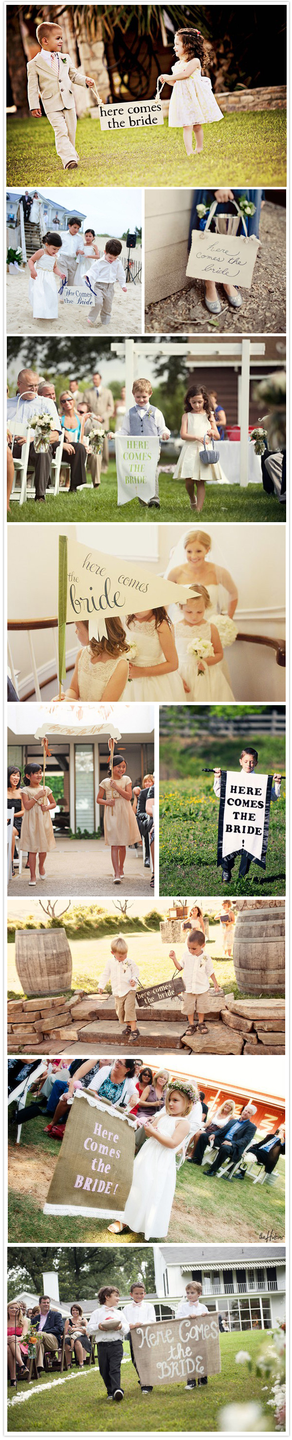 Here comes the bride wedding signs